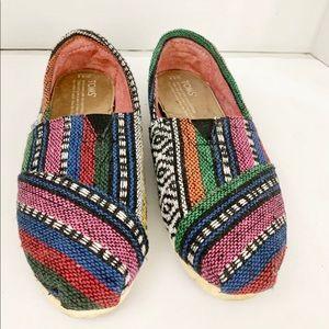 Toms Multi color flat Slip on shoes size 5.5